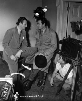 John Wayne dropped by during filming! via: http://dedicatedtoduke.tumblr.com/post/21568287464/duke-visits-joel-mccrea-on-the-set-of-foreign