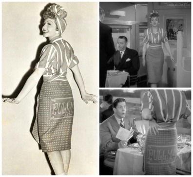 Palm Beach Story Claudette Colbert Pullman outfit collage