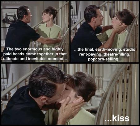 Paris When it Sizzles Holden Hepburn kiss