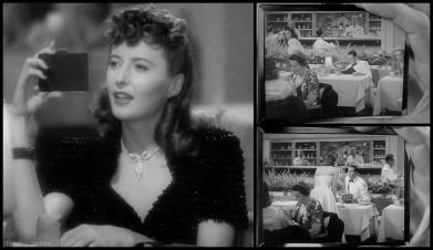 Barbara Stanwyck uses her compact to spy on Henry Fonda in The Lady Eve (1941)