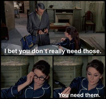 Charade Hepburn Grant glasses
