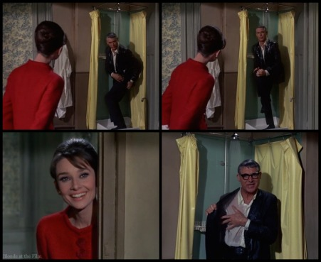 Charade Hepburn Grant shower 2