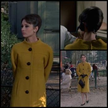 Charade Hepburn mustard coat