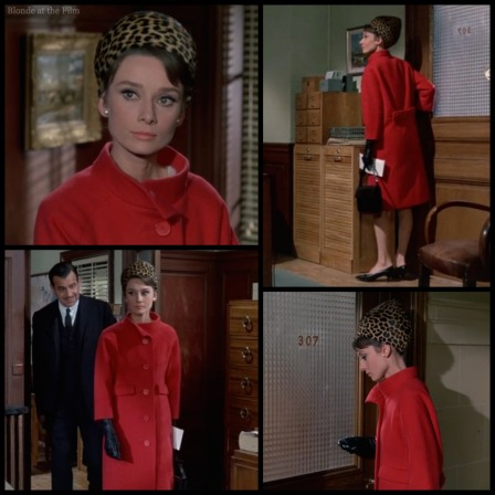 Charade Hepburn red coat