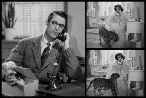 Bringing Up Baby Grant Hepburn leopard phone