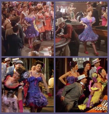 The purple dress with red spangles. The Harvey Girls (top two). The sleeves have been altered in Easter Parade.