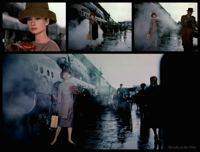 Hepburn models with a train case in Funny Face