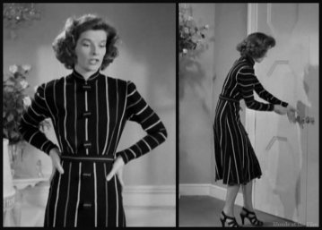 Bringing Up Baby Hepburn striped dress