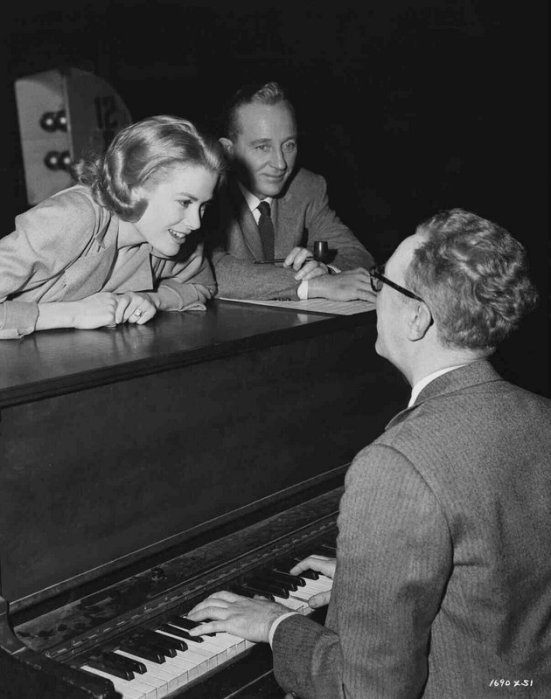 High Society: Grace Kelly and Bing Crosby with composer Saul Chaplin