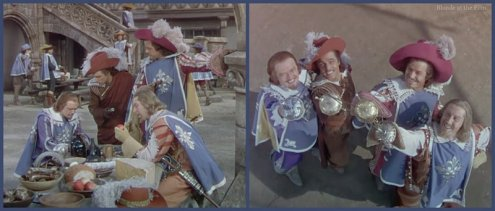 The Three Musketeers: Van Heflin, Gene Kelly, Gig Young, and Robert Coote