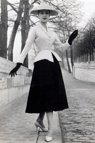 "A model in the iconic ""Bar Suit"" that helped introduce the New Look in 1947 via: http://www.vogue.co.uk/spy/biographies/christian-dior"