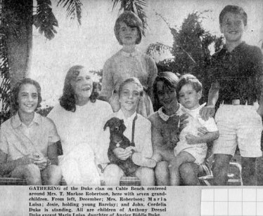 Cordelia Biddle Duke Robertson with her family from the New York Social Diary, 1962 via http://www.newyorksocialdiary.com/social-history/2013/chapter-xxii-resort-life-september-1962-may-1963