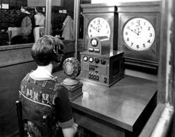 "A ""speaking clock"" operator in 1937. via: https://en.wikipedia.org/wiki/Mary_Moore_(voice_actor)"