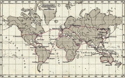 A map of telegraph lines from 1891 via: http://www.atlasobscura.com/articles/telegrams
