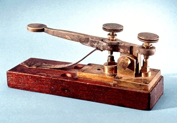 A telegraph key from 1844 via: http://www.smithsonianmag.com/arts-culture/how-the-telegraph-went-from-semaphore-to-communication-game-changer-1403433/?no-ist