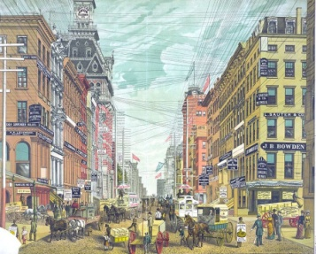 An 1880s postcard of Broadway and Cortland Street in Lower Manhattan via: https://ephemeralnewyork.wordpress.com/2009/12/12/when-the-city-was-criss-crossed-by-wires/