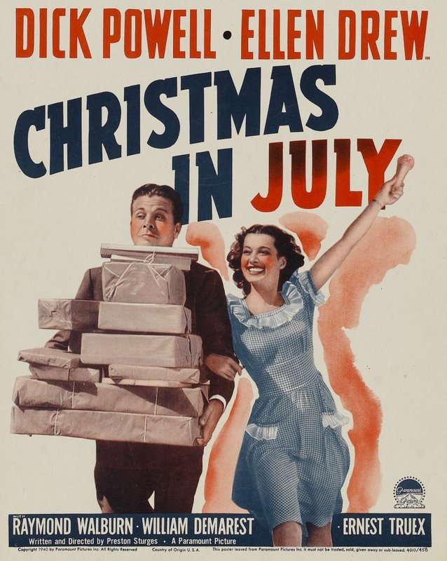 Christmas In July Movie.Christmas In July 1940 The Blonde At The Film