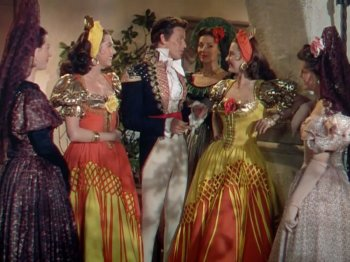 The Kissing Bandit: Cyd Charisse, Ann Miller, and Frank Sinatra
